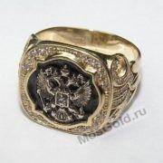 Кольцо «Герб России» (золото жёлтое, эмаль)
