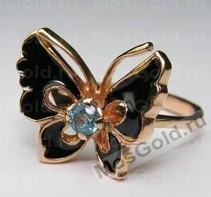 Кольцо бабочка с эмалью