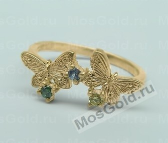 Кольцо с бабочками и камнями