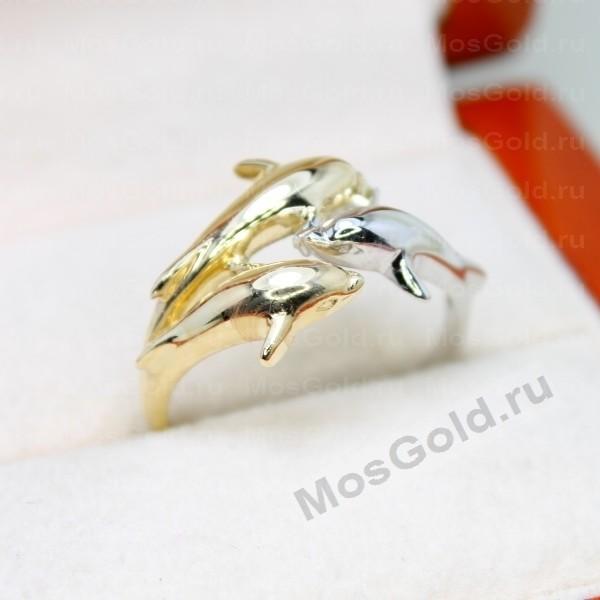 Кольцо дельфин белое и жёлтое золото