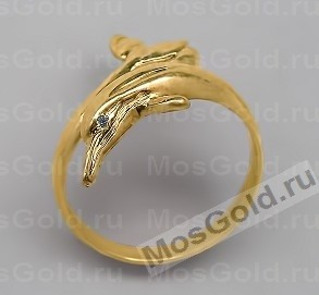 Золотое кольцо с дельфином