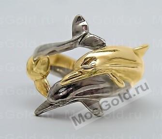 Золотое кольцо с двумя дельфинами