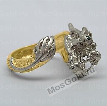 Кольцо дракон с хвостом
