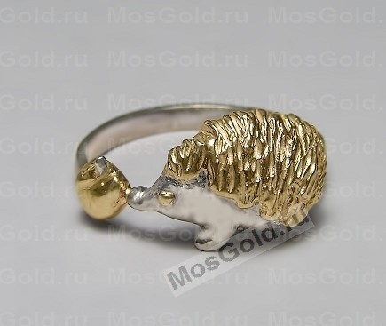 Золотое кольцо с оригинальным ёжиком