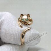 Кольцо кошка с изумрудными глазами