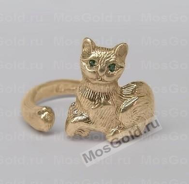 Кольцо с кошкой — золото: с зелёными глазами