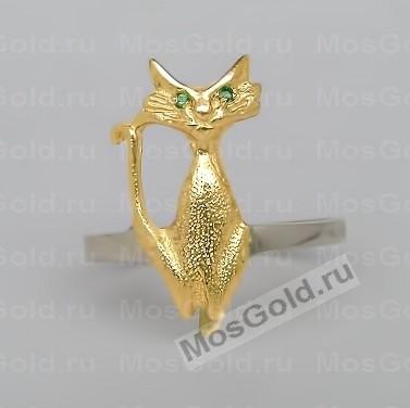 Золотое кольцо в виде кошки