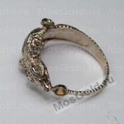 Кольцо крокодил из белого золота