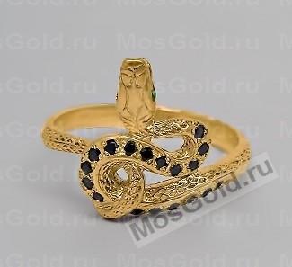 Золотое кольцо змея с чёрными бриллиантами