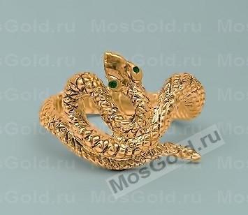 Золотое кольцо змея с изумрудом