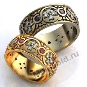 Золотые кольца с узором