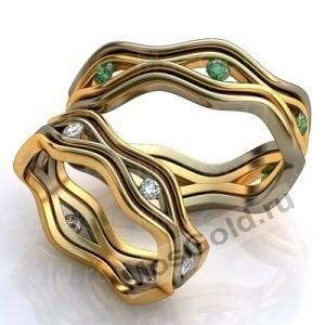 Эксклюзивные обручальные кольца с изумрудами
