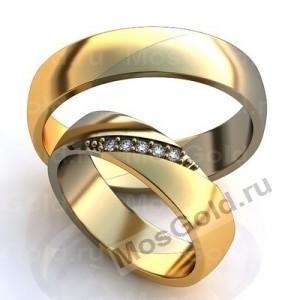 Двухцветные обручальные кольца с бриллиантами