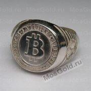 Кольцо биткоин из серебра