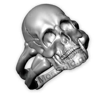 Мужское кольцо череп
