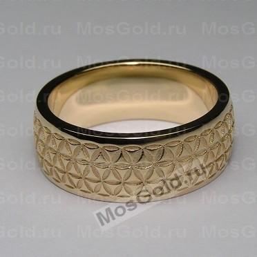 Кольцо цветок жизни (из жёлтого золота)