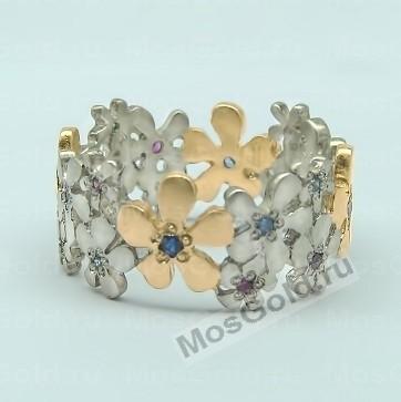 Кольцо цветок белое золото