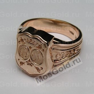 Мужская золотая печатка с инициалами