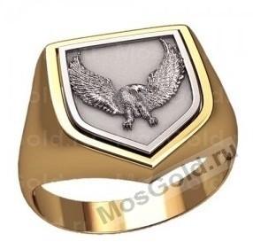 Золотое мужское кольцо с орлом