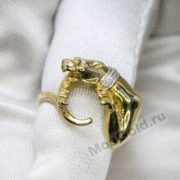 Кольцо пантера с ошейником из бриллиантов