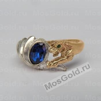 Золотое кольцо пантера с синей шпинелью
