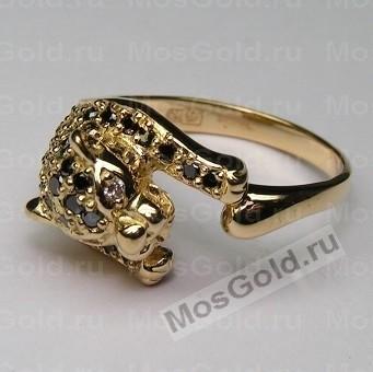 Золотое кольцо пантера с черными бриллиантами
