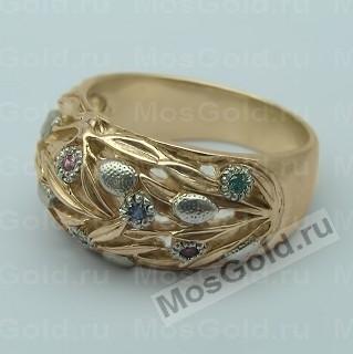 кольца в виде цветка с камнем