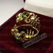 Золотое кольцо скорпион с турмалином