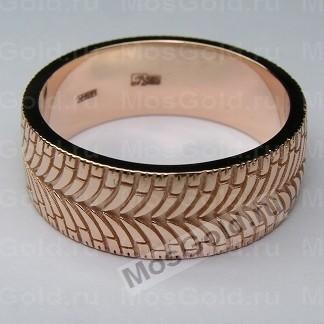 Кольцо в виде шины из красного золота