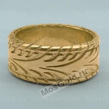 Кольцо в виде шины из жёлтого золота