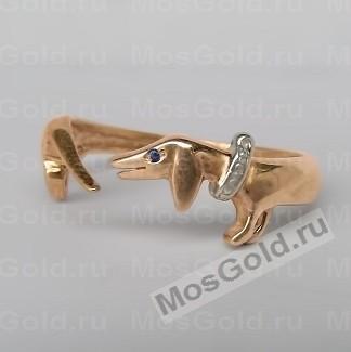 Кольцо с таксой из золота
