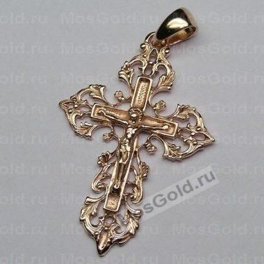 Золотой ажурный крестик