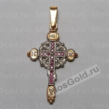 Золотой женский крестик с рубинами