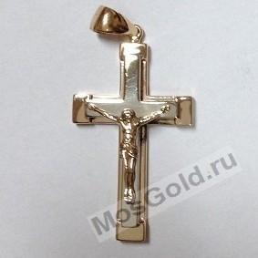 Золотой крестик из комбинированного золота