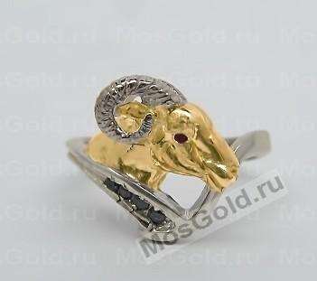 Кольцо с головой овна и чёрными бриллиантами