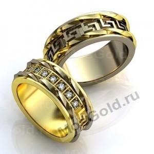 Обручальные кольца с бриллиантами и плетёнкой