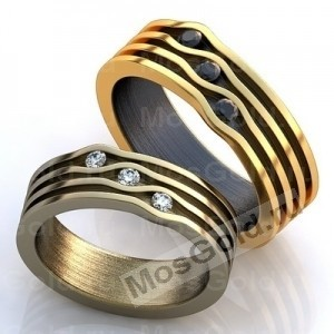 Обручальные кольца с полосками