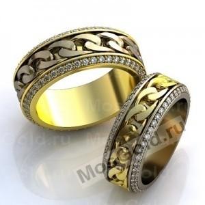 Обручальные кольца цепи с камнями