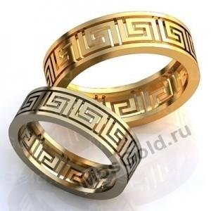 Золотые кольца с рисунком