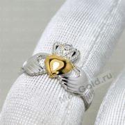 Золотое кольцо сердце с короной