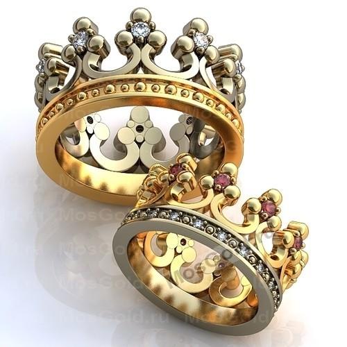 Необычные обручальные кольца короны