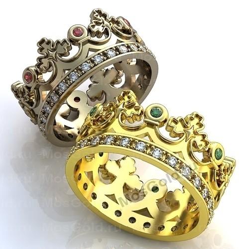 Обручальные кольца короны с камнями