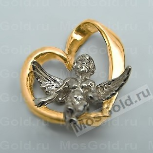 Подвеска ангел из желтого золота
