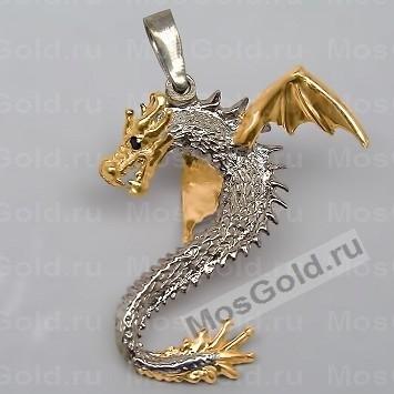 Золотой кулон дракон с крыльями