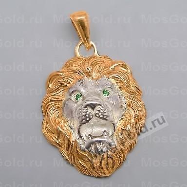 Золотой кулон в виде большой головы льва