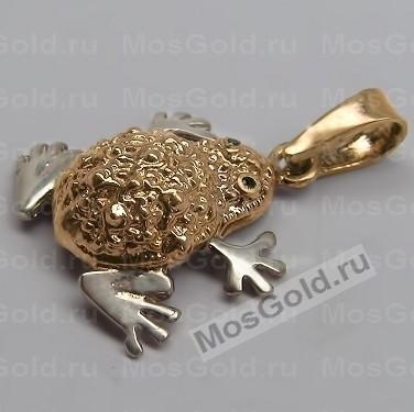 Золотой кулон лягушка с изумрудами