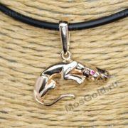Кулон пантера с чёрным бриллиантом