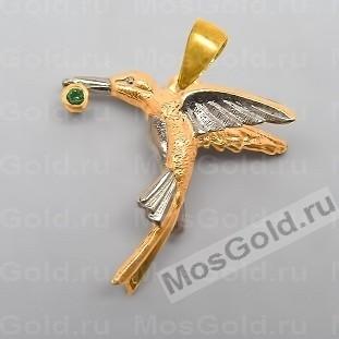 Кулон птица с изумрудом
