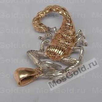 Кулон скорпион из красного золота с родием