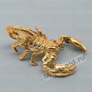Кулон большой скорпион из жёлтого золота